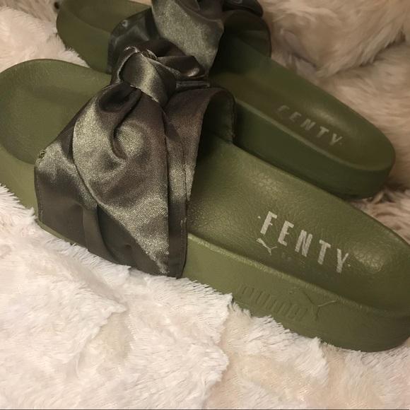 newest f0dc0 70512 Olive Green Bow Tie Rihanna X Puma Fenty Slide